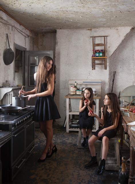 Karen with girls Paris kitchen